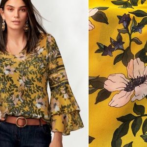 CAbi Scene Floral Blouse Bell Sleeve, Style 5518
